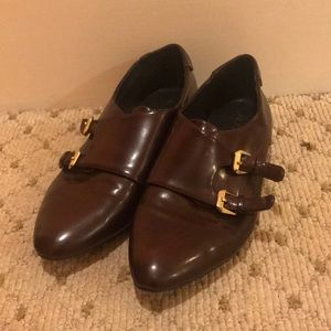Burgundy point toe flats with buckles